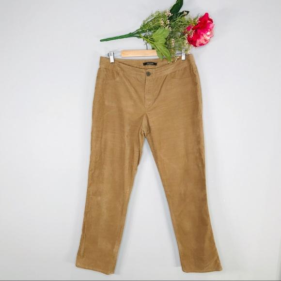 Tahari Pants - Tahari   Tan Corduroy Stretch Emma Pant SZ 12